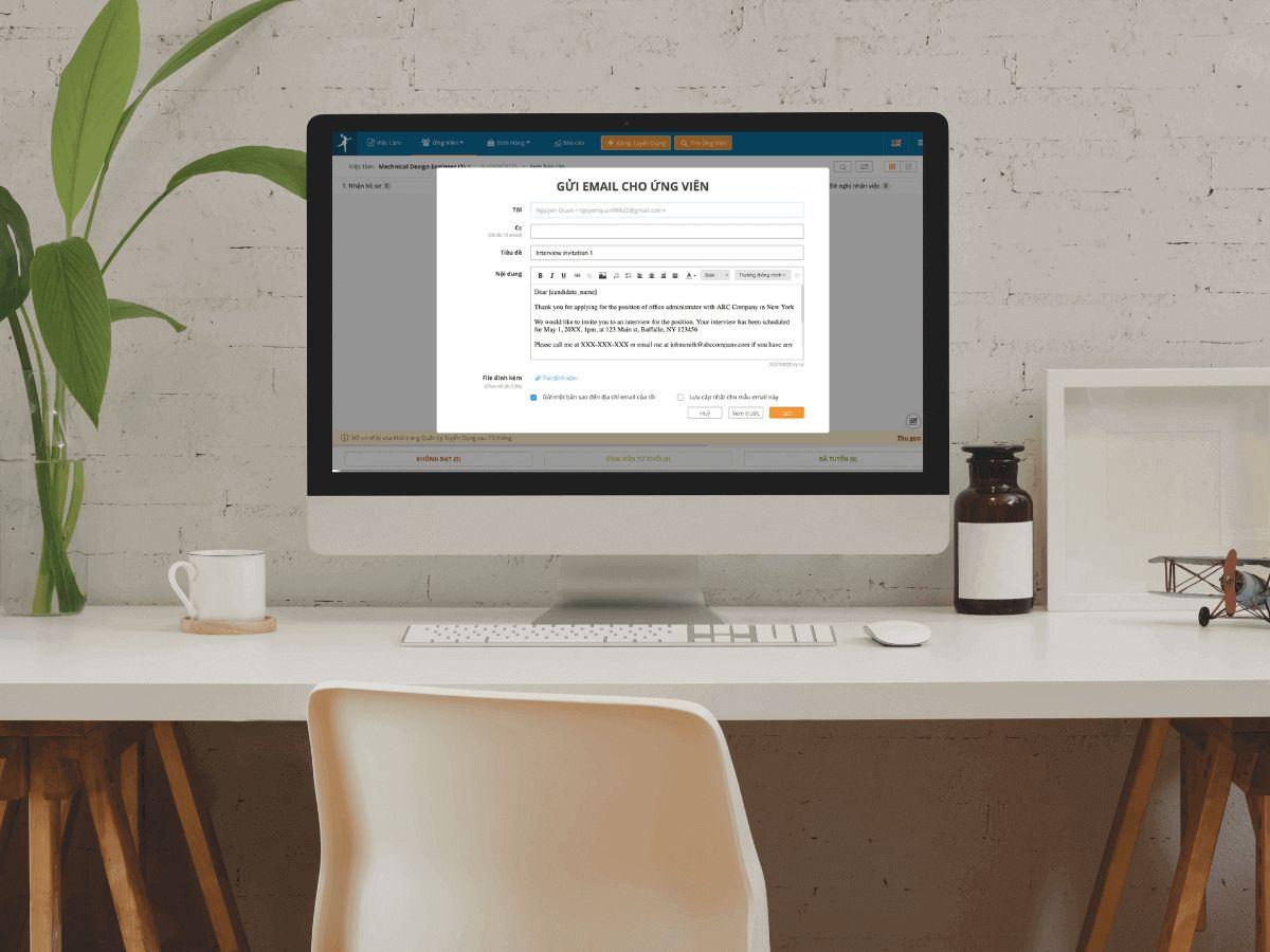 gửi email, tự động, ứng viên