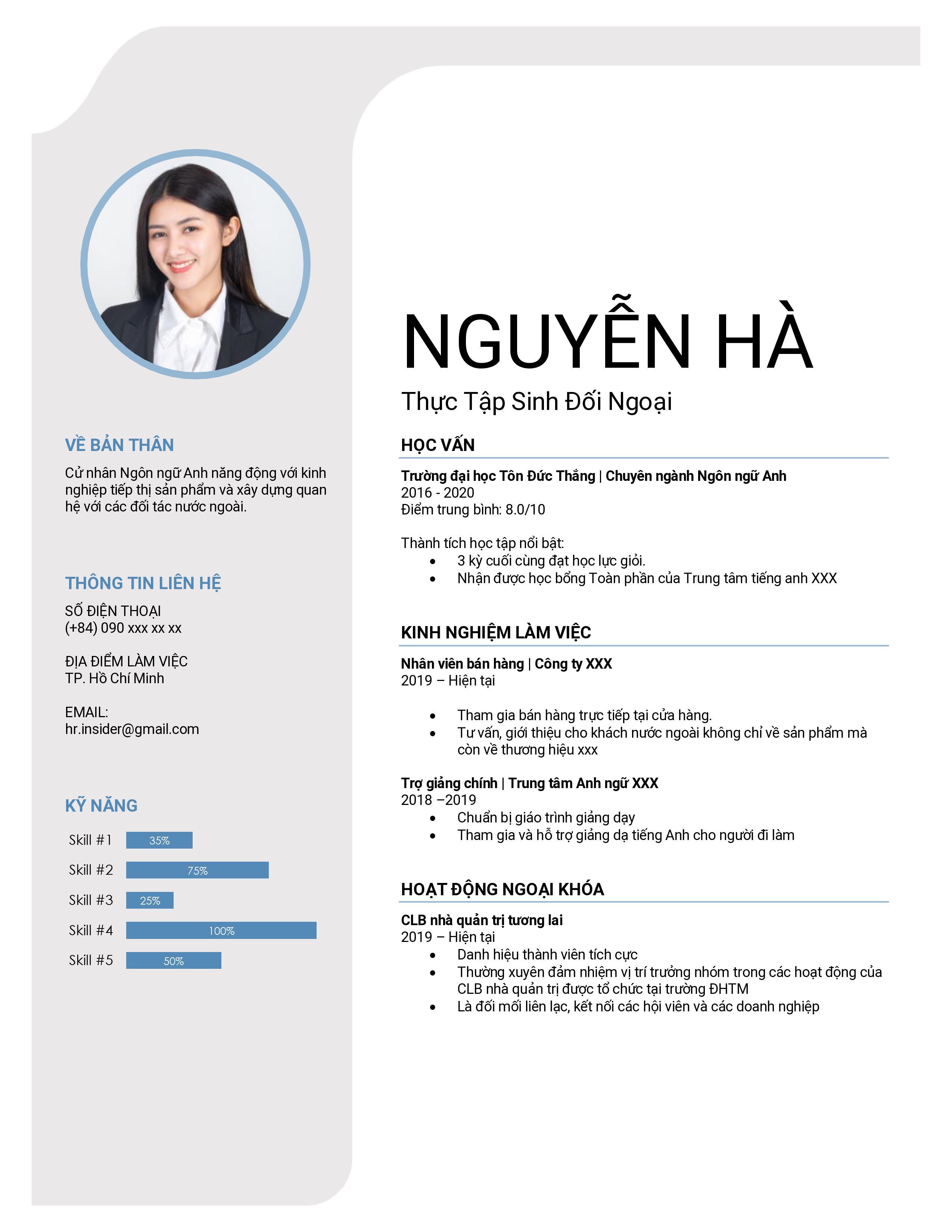 CV cho sinh viên mới ra trường đẹp đơn giản