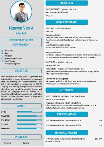 CV dành cho Sales