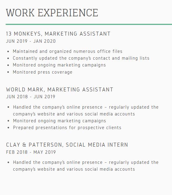 Cách viết kinh nghiệm làm việc trong CV cho Marketing